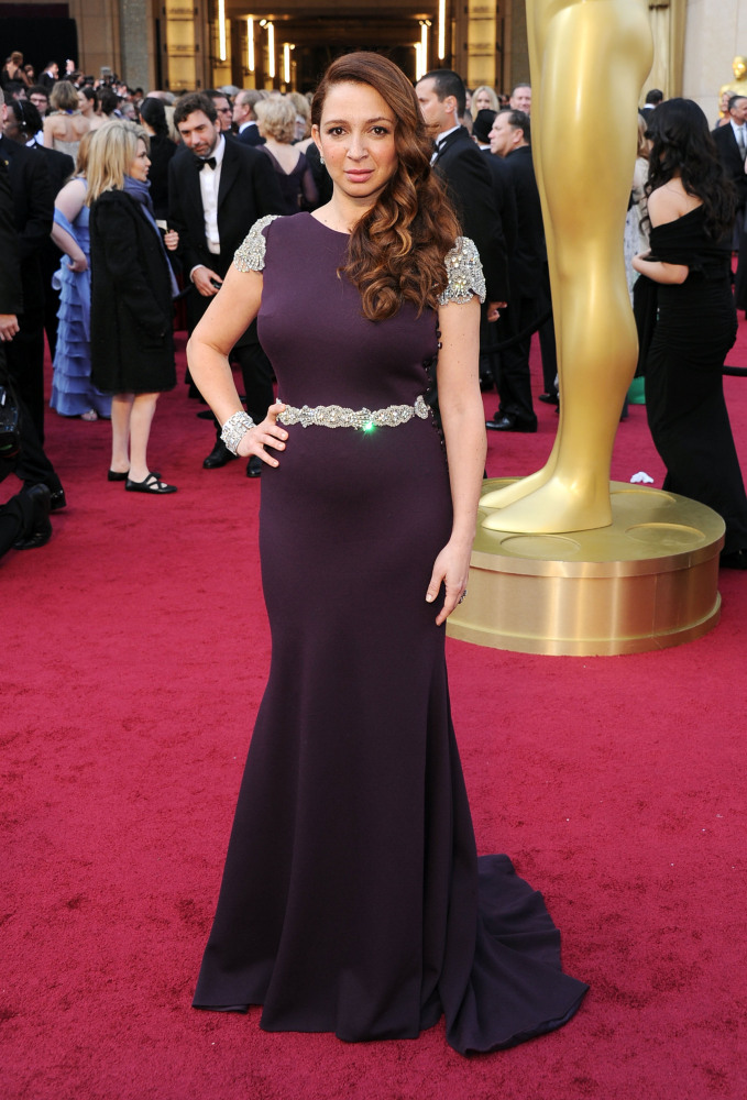 We love Miss Maya but the beading on this plum-colored gown reminds us of medieval armor. (Photo Credit: Getty Images)