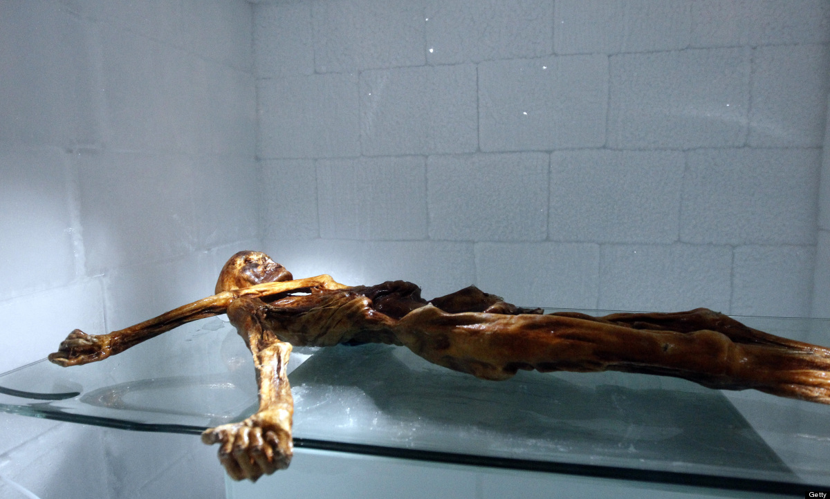 The mummy of an iceman named Otzi, discovered on 1991 in the Italian Schnal Valley glacier, is on display at the Archeologica