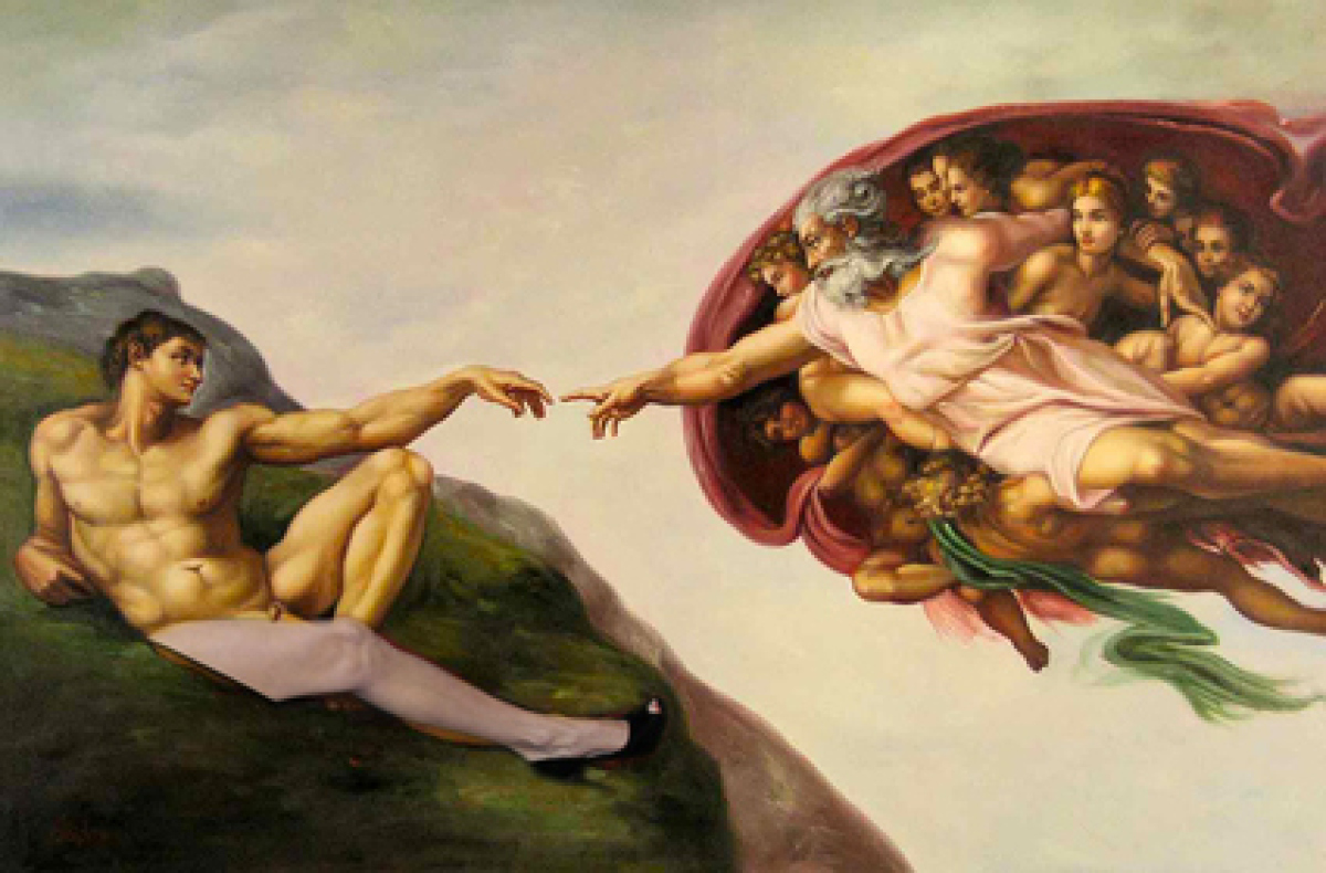 """This riffs on the 1511 masterpiece """"The Creation of Adam"""" by Michelangelo, which is featured on the ceiling of the Sistine Ch"""