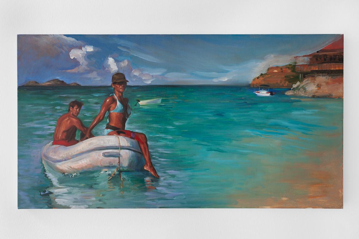 DELIA BROWN The Arrival By Sea of Raina Bouvier 3000, 2009 Oil on linen 16 x 30 inches