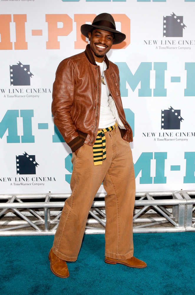 """Andre Benjamin arrives at the New Line premiere of """"Semi-Pro"""" held at the Mann Village Theater on Feb. 19, 2008 in Los Angele"""