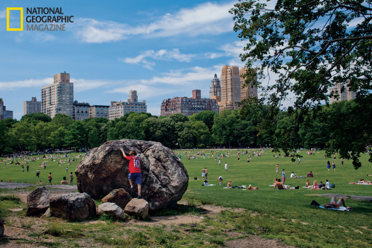 """Receding glaciers left these rocks behind in what is now New York City's Central Park. Inspired by the """"childish playfulness"""