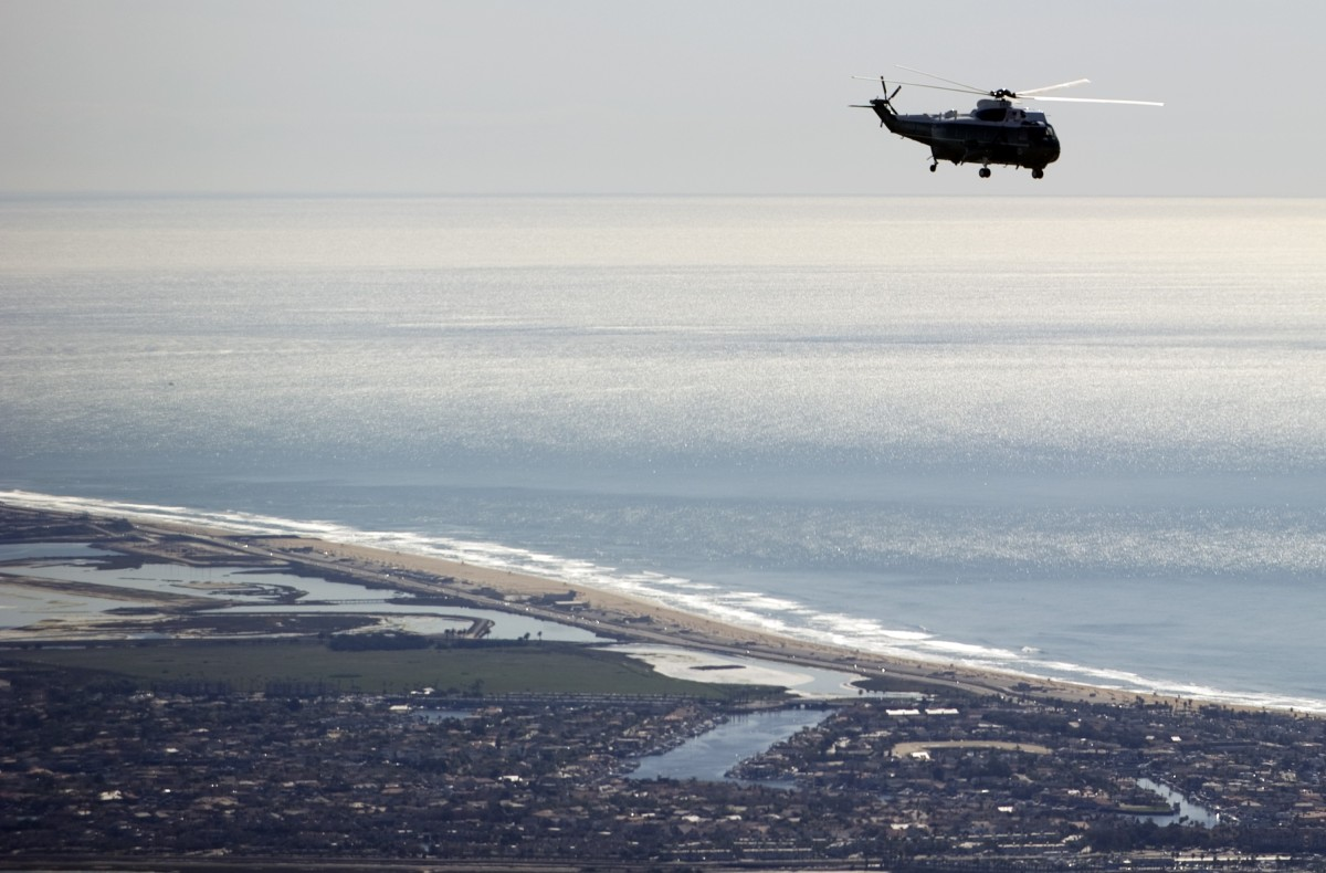 #1 Winner. Huntington City Beach is projected to gain $16 million in tourism revenue.  <em>Marine One with US President Bar