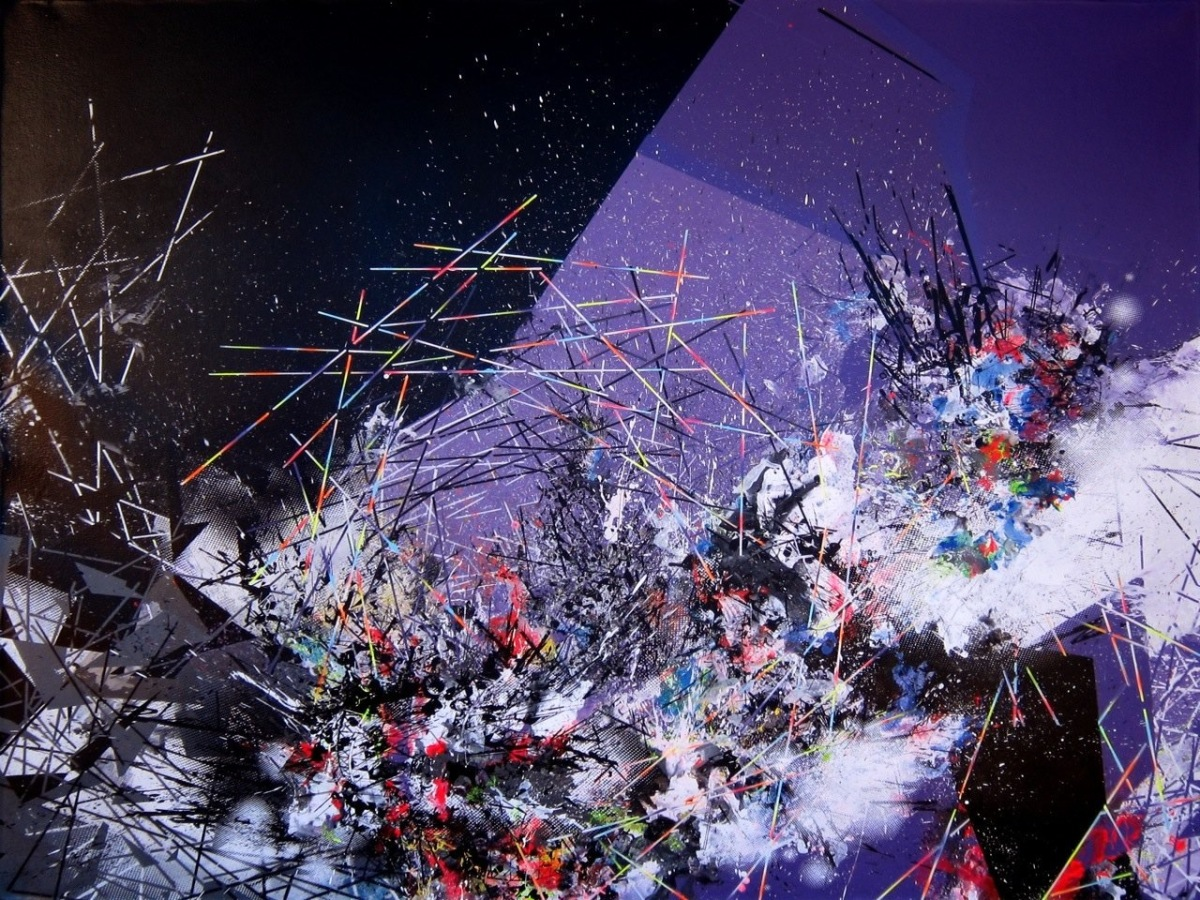 Mark Schoening   'Mad Dash', 2011       acrylic & mixed media on canvas      60 x 72 inches    courtesy of Blythe Projects