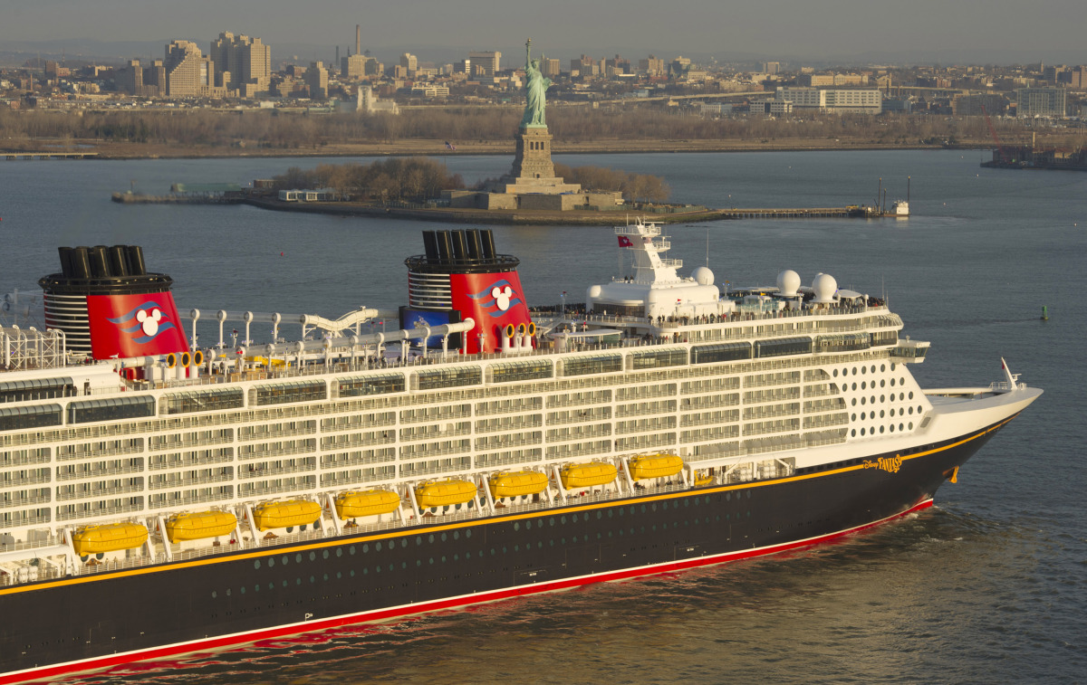 The Disney Fantasy pulling into New York Harbor.