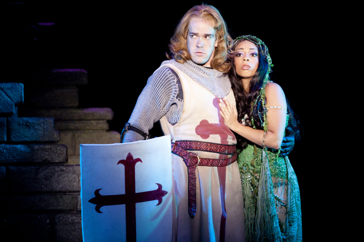 Jacob L. Smith (Sir Dennis Galahad) and Brittany Woodrow (The Lady of the Lake)