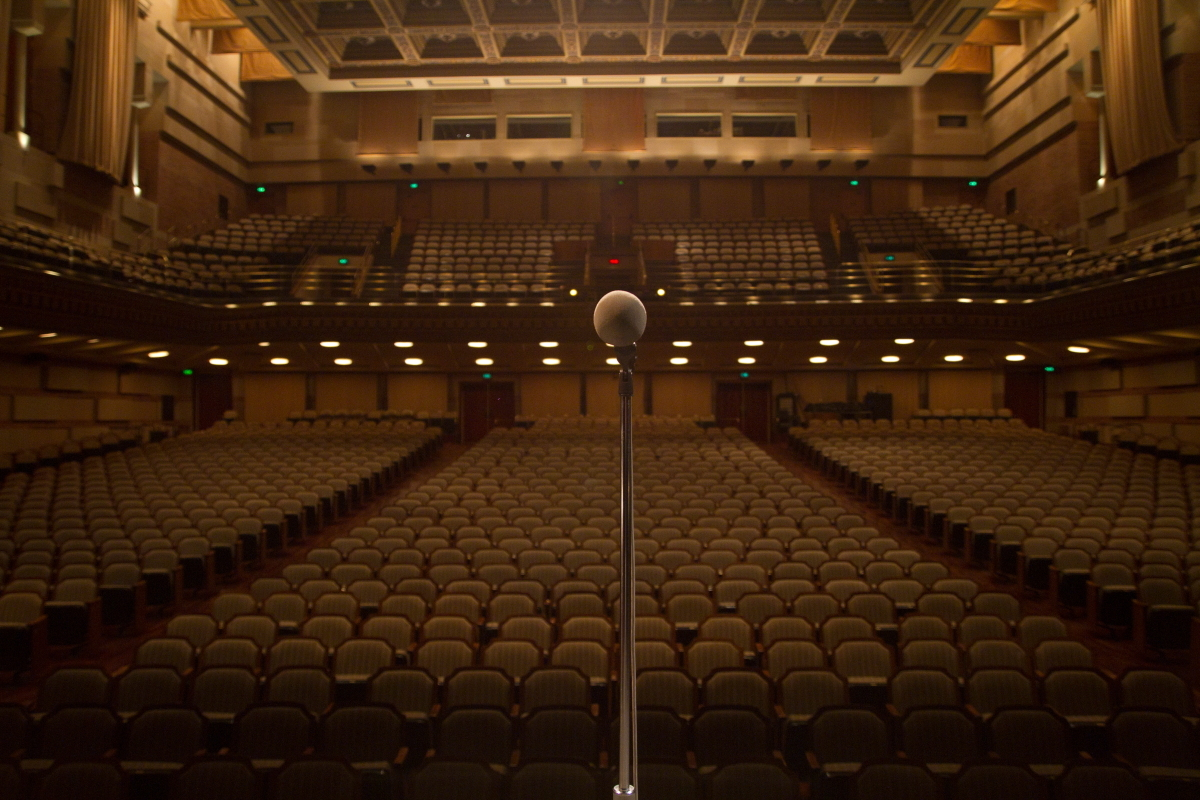 The Moth's show at Royce Hall at UCLA on March 1, 2012.  <em>Photo: Eli Goldstein</em>