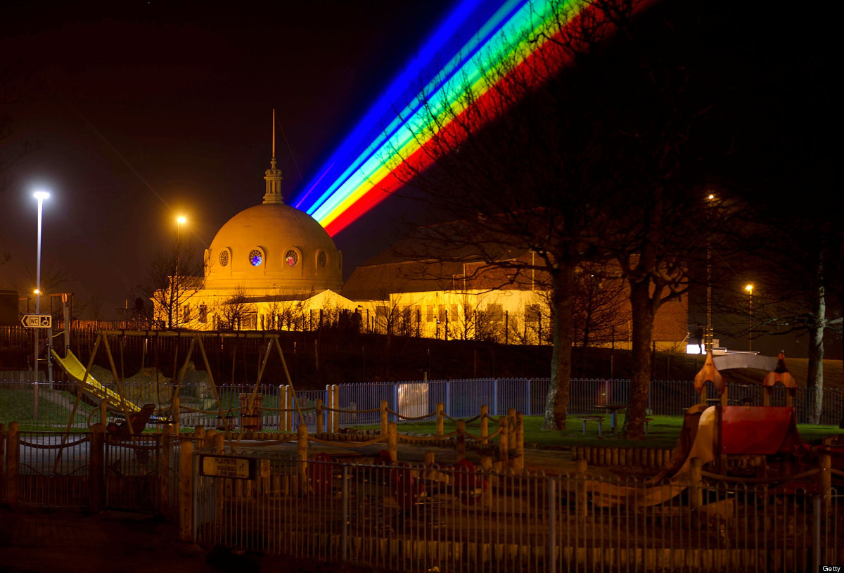 WHITLEY BAY, ENGLAND - MARCH 01:  International artist Yvette Mattern shows her stunning laser rainbow projection, Global Rai