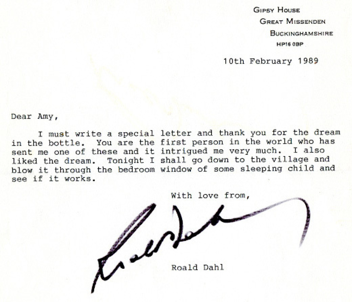 Once upon a time (1989), a little girl named Amy sent a bottle of colored water, oil and glitter to Roald Dahl, who knew righ