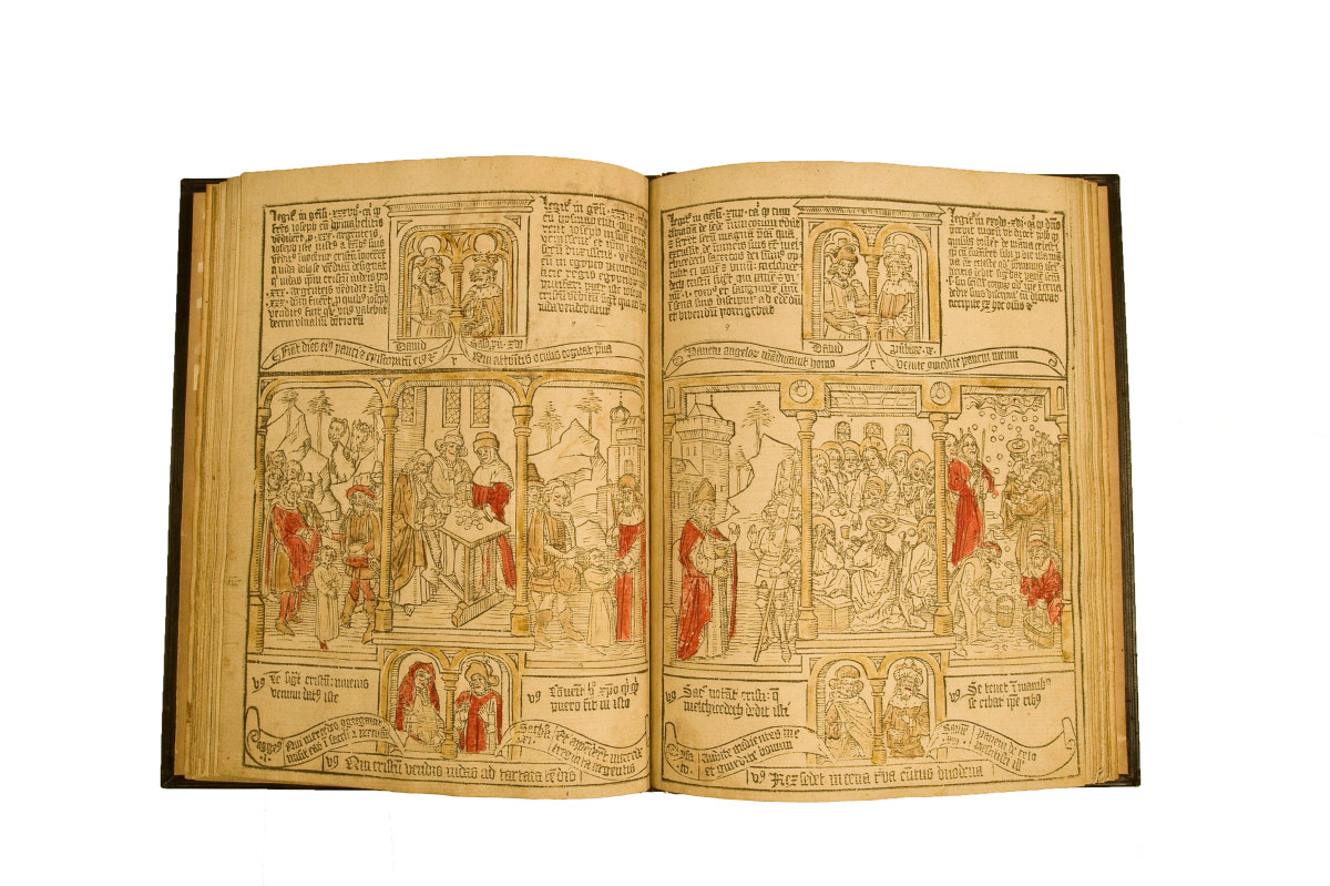The pages from this near-complete blockbook were printed from single carved blocks containing the first edition of this popul