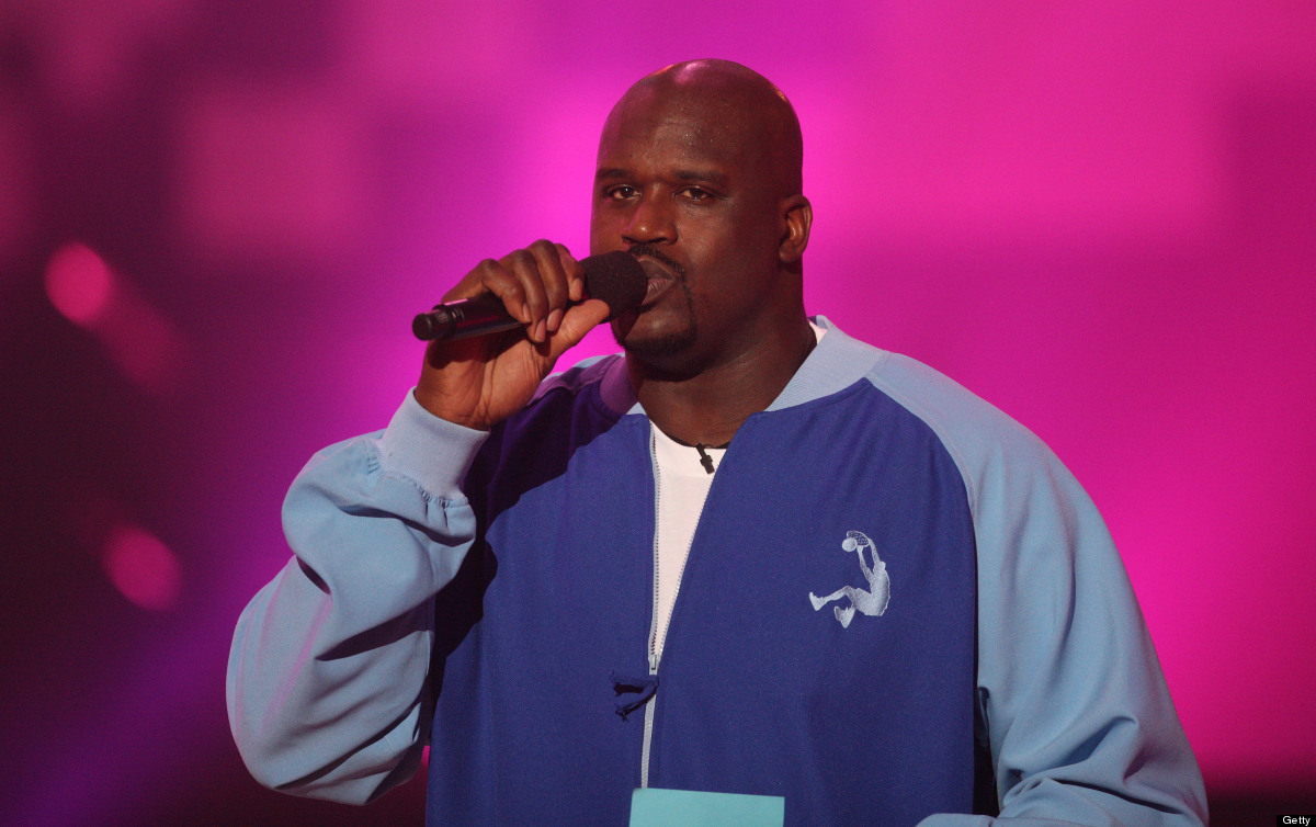Host Shaquille O' Neal speaks during the second Annual Cartoon Network Hall of Game Awards at the Barker Hangar, Santa Monica