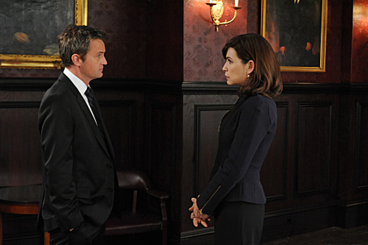 "Former NBC stars Matthew Perry and Julianna Margulies in ""The Good Wife.""<br>