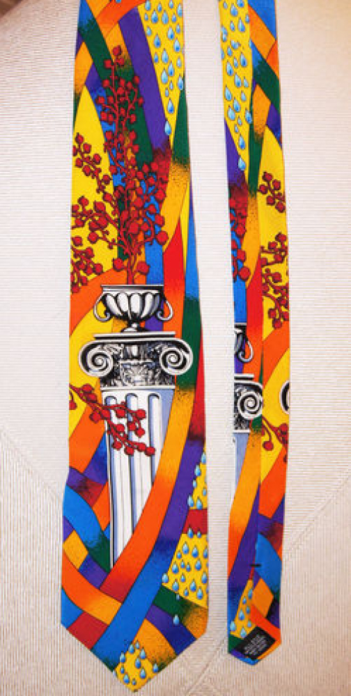 """No Boundaries"" silk tie ""roman column multi color gold chain,"" for sale by <a href=""http://www.ebay.com/itm/NEW-RUSH-LIMBAUG"