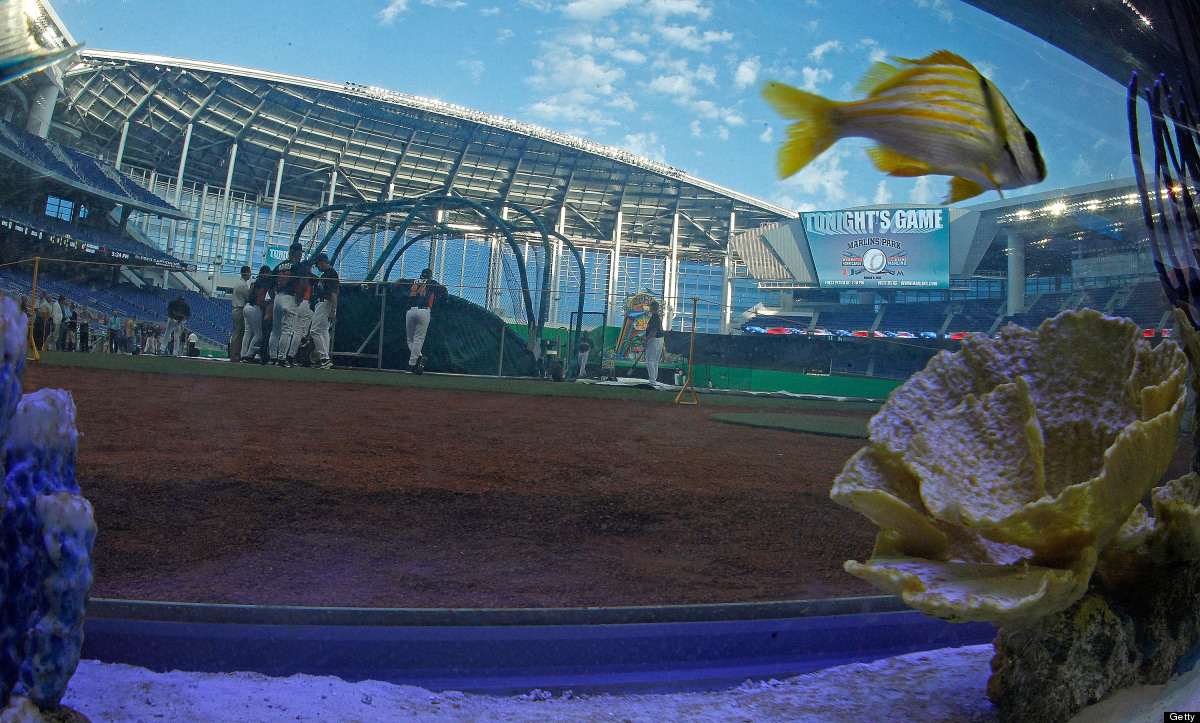 MIAMI, FL - MARCH 06:  A general view of the new Marlins Ballpark shot throught a fishtank behind home plate during a game be