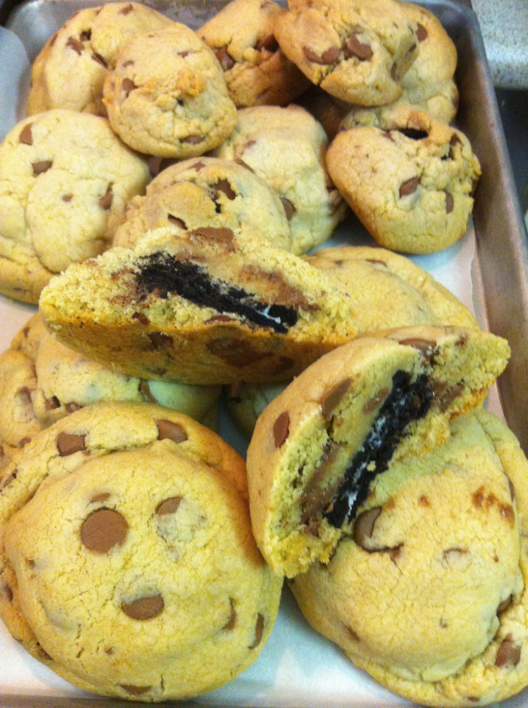 Combine the two best types of cookies, and what you get is one gooey, delicious super-cookie. With a package of pre-made choc