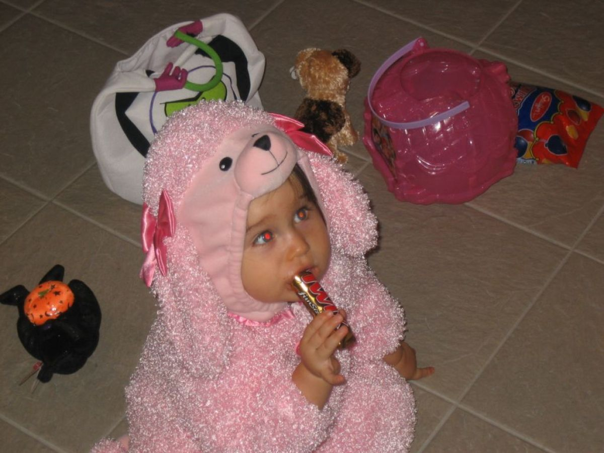 """""""Emmy's grandmother bought the pink poodle costume for her, and they both wore it for their second Halloweens, so they would"""