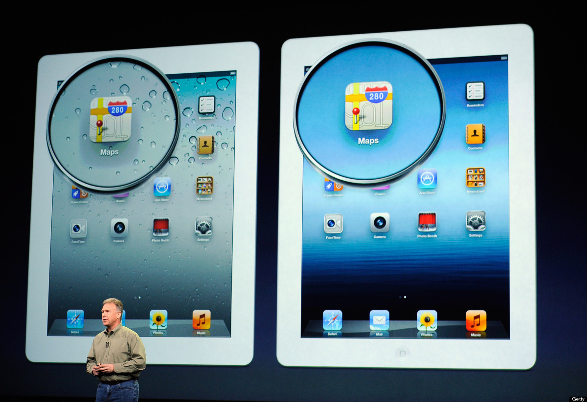 The photo above shows the difference between the iPad 2's 1,024 x 768 pixel display and the new iPad's high-definition Retina