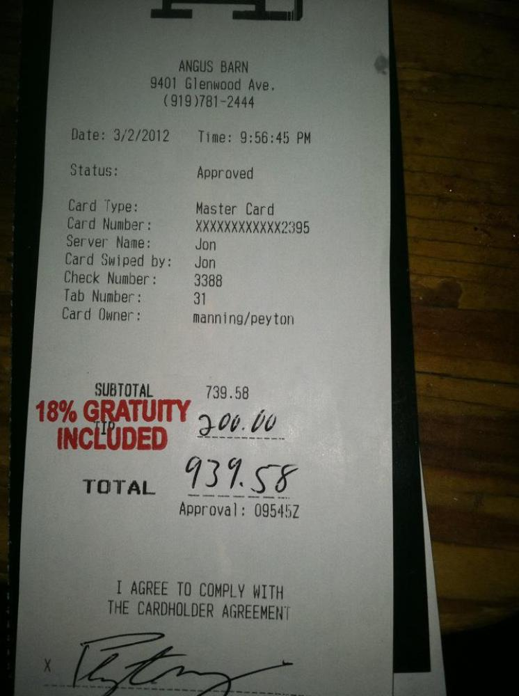 Indianapolis Colts quarterback Peyton Manning left $200 in addition to the 18 percent gratuity on his bill at Angus Barn in R