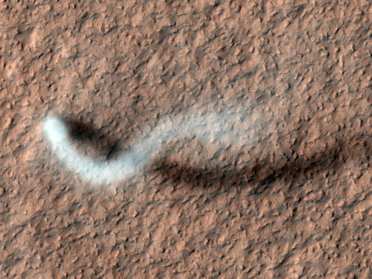 A towering dust devil, casts a serpentine shadow over the Martian surface in this image acquired by the High Resolution Imagi