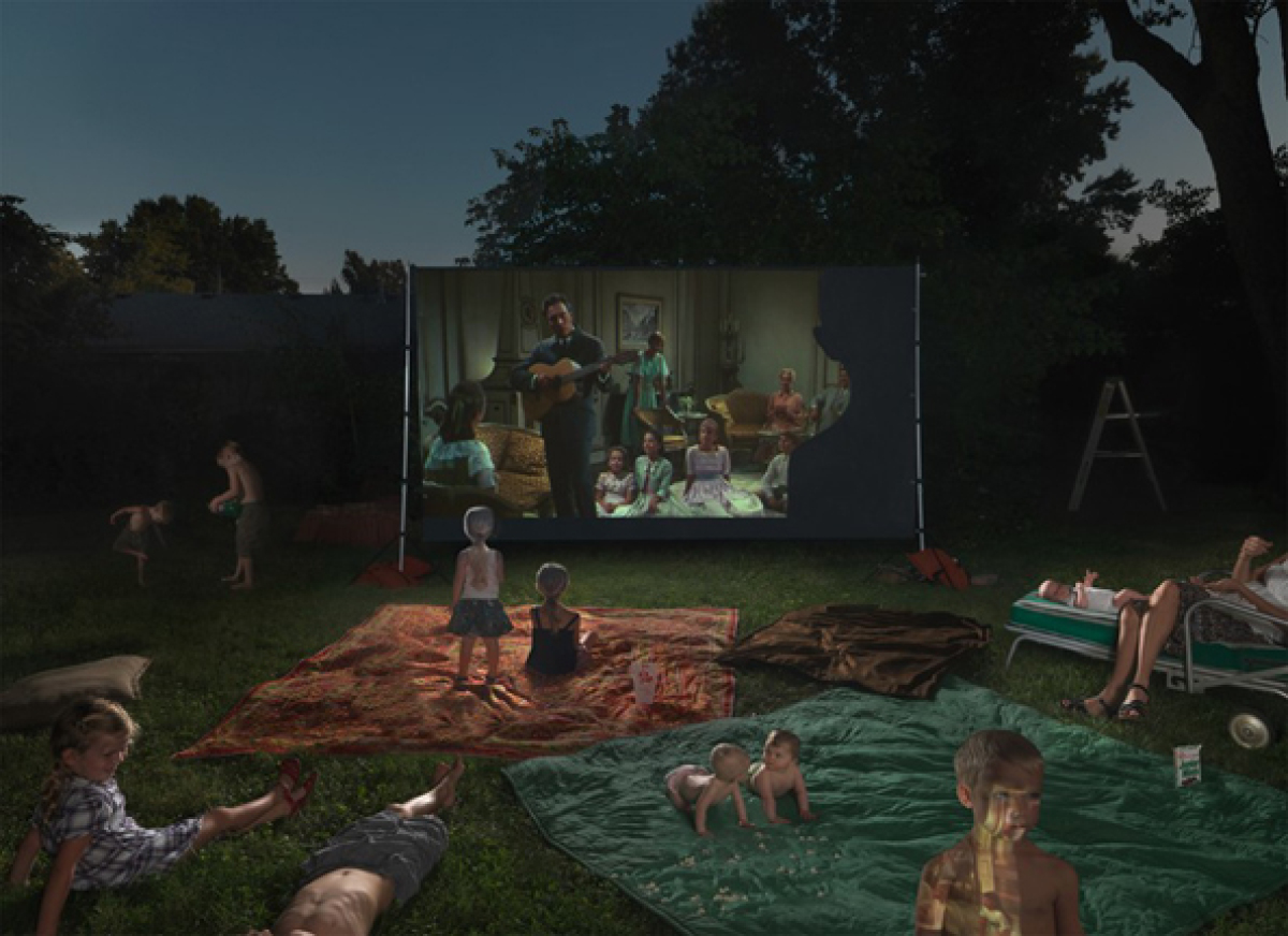 Julie Blackmon Night Movie, 2011 Archival Pigment Print, Ed. of 5 40 X 55 Inches