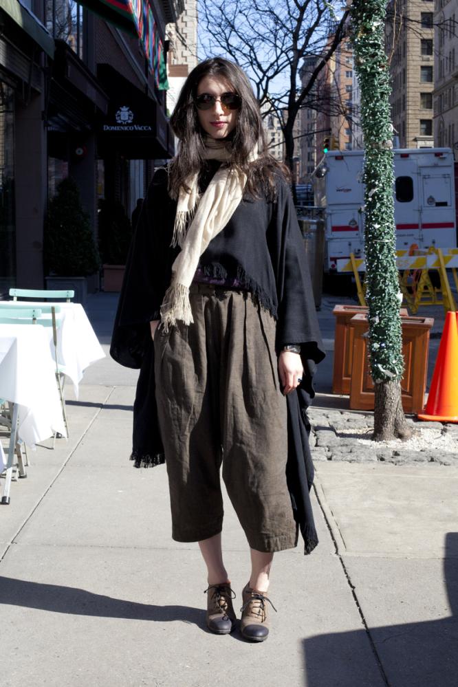 Wearing: Vintage Pants, Vintage Pendelton Sweater, Hand-Made Poncho, Ray-Ban Sunglasses   Favorite Neighborhood Shop: Ralph