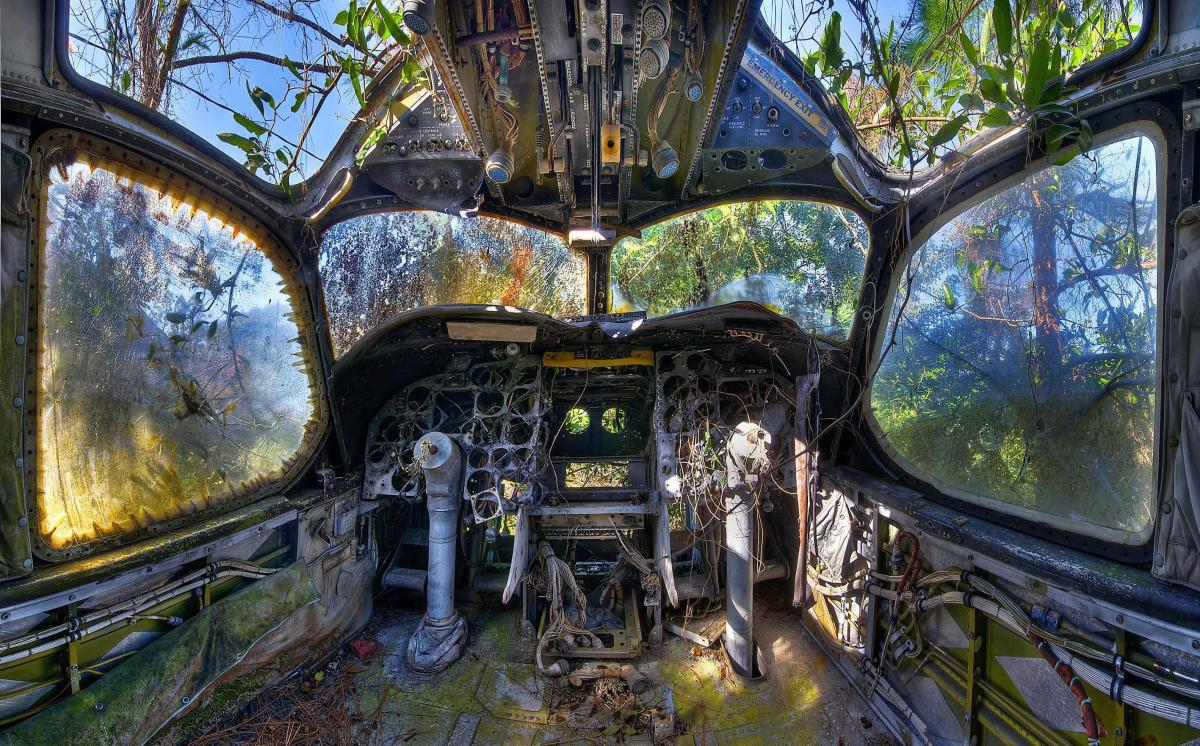 Cockpit of an abandoned plane. Photographed by 30-year-old Walter Arnold, from Hendersonville, NC.