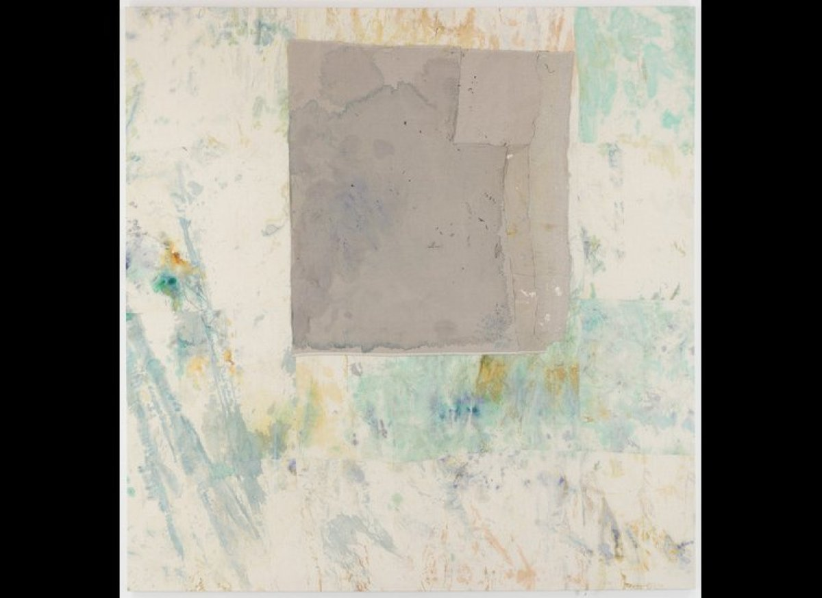 <em>Sergej Jensen, Untitled, 2010, Stained and dyed sewn fabrics, 122 x 118 inches, (courtesy Anton Kern Gallery, New York)</