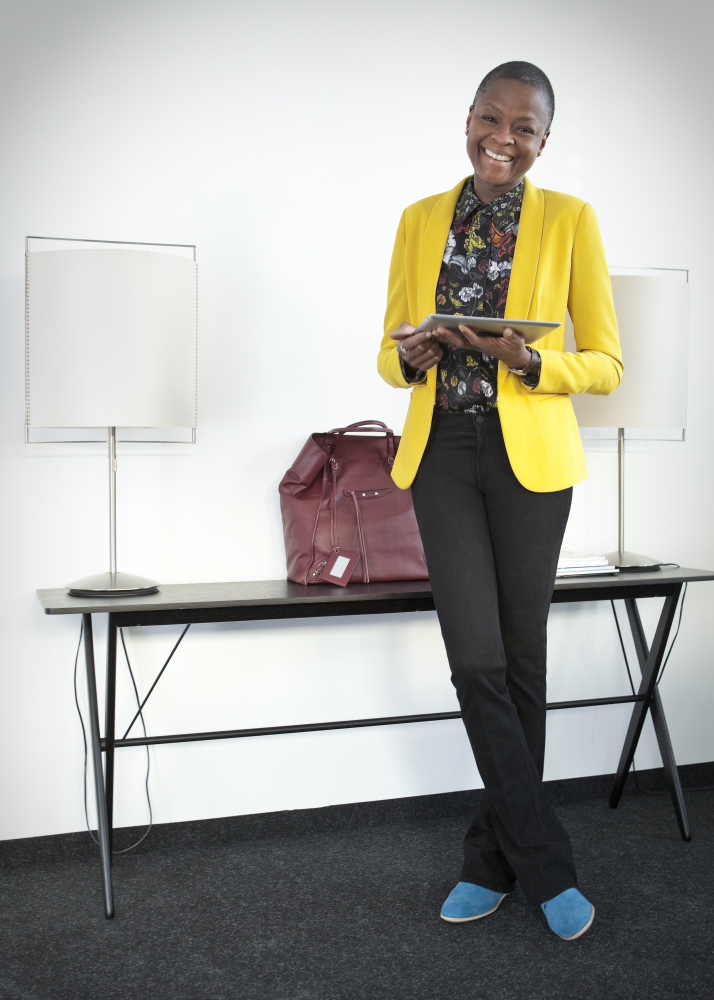 """How much do we love that bright yellow blazer?  Denise is wearing a <a href=""""http://staging.mytheresa.com/de_en/designers/ra"""