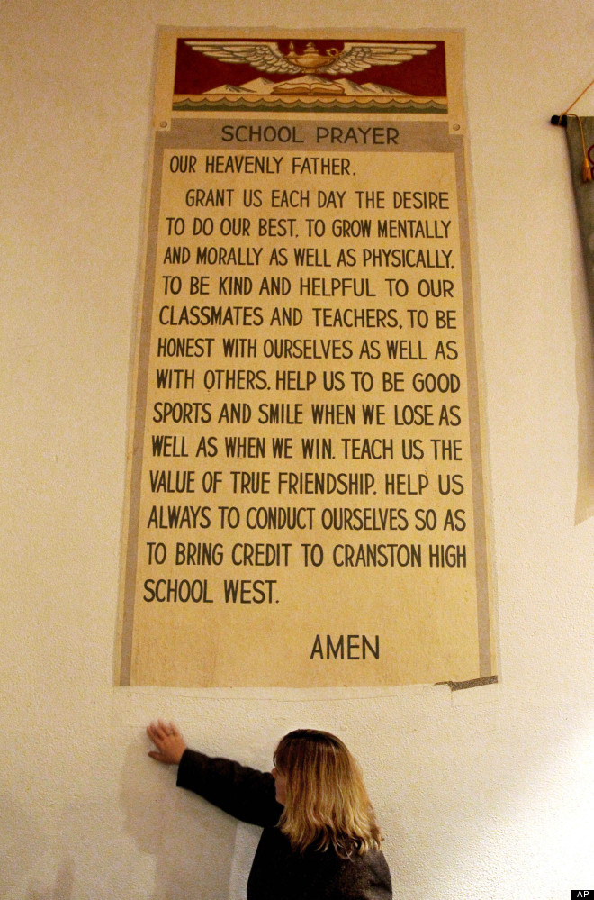 A federal judge ruled that a prayer banner at a Rhode Island high school, Cranston West, is unconstitutional. It has been rem