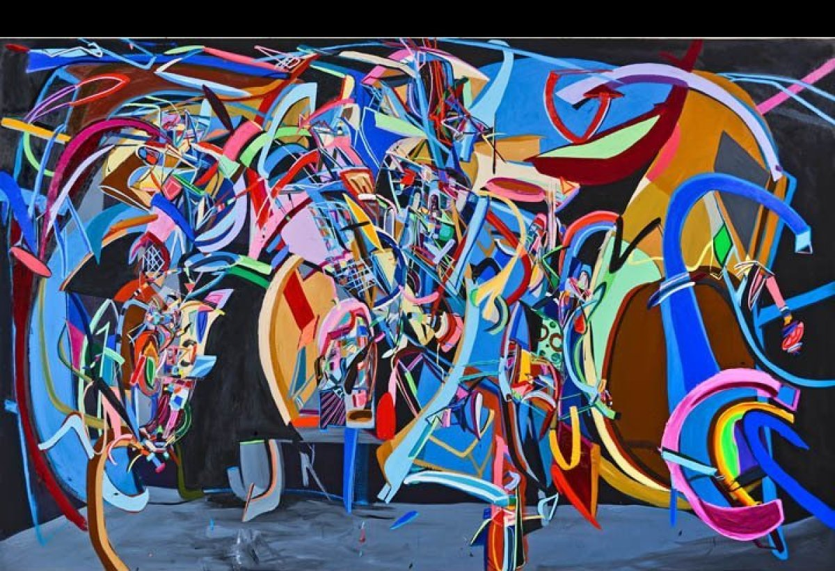 Flipside, Oil on canvas, 76 x 120 inches, 2012, Mark Moore Gallery