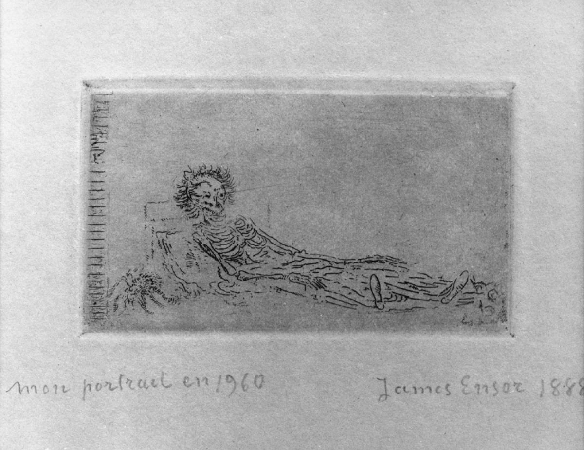 "James Ensor: ""Mon portrait en 1960"" [My portrait in 1960]; etching; 64 x 114 mm; 1888; Museum Plantin-Moretus/Prentenkabinet,"