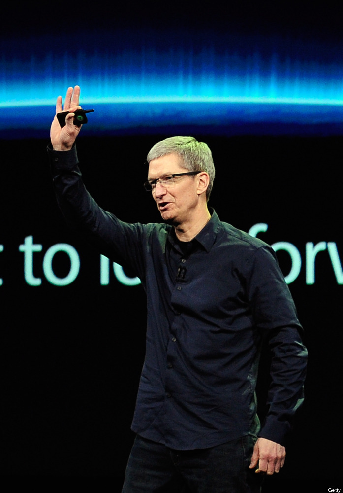 Apple CEO Tim Cook speaks during an Apple product launch event at Yerba Buena Center for the Arts on March 7, 2012 in San Fra