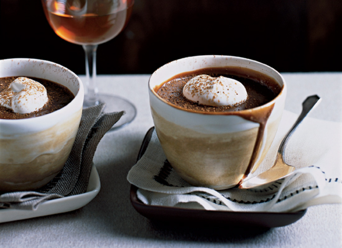 This traditional French dessert is typically served in little pot-like cups, hence the name. The rich pudding-like mixture is