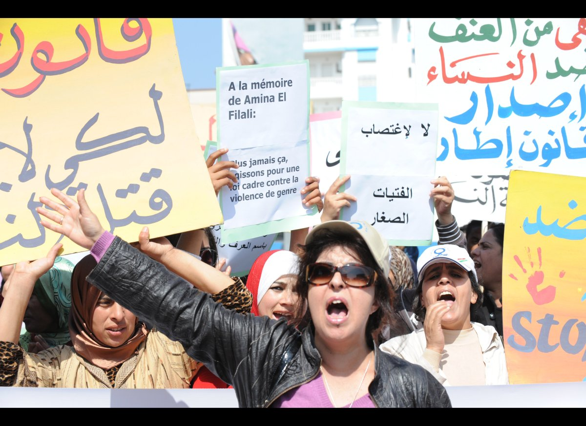 Fouzia Assouli, president of Morocco's Democratic League for Women's Rights and 300 protesters stage a sit-in outside the loc
