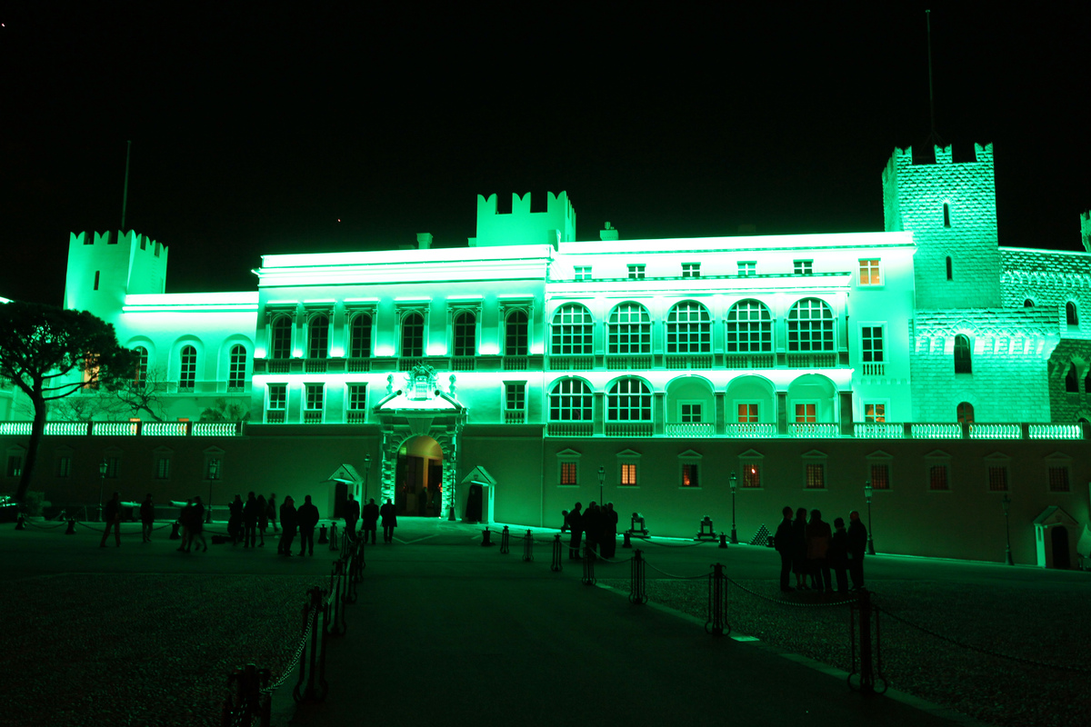 A picture shows the illuminated in green of the Monaco's palace on March 17, 2012 in the Principalty of Monaco, during the Sa