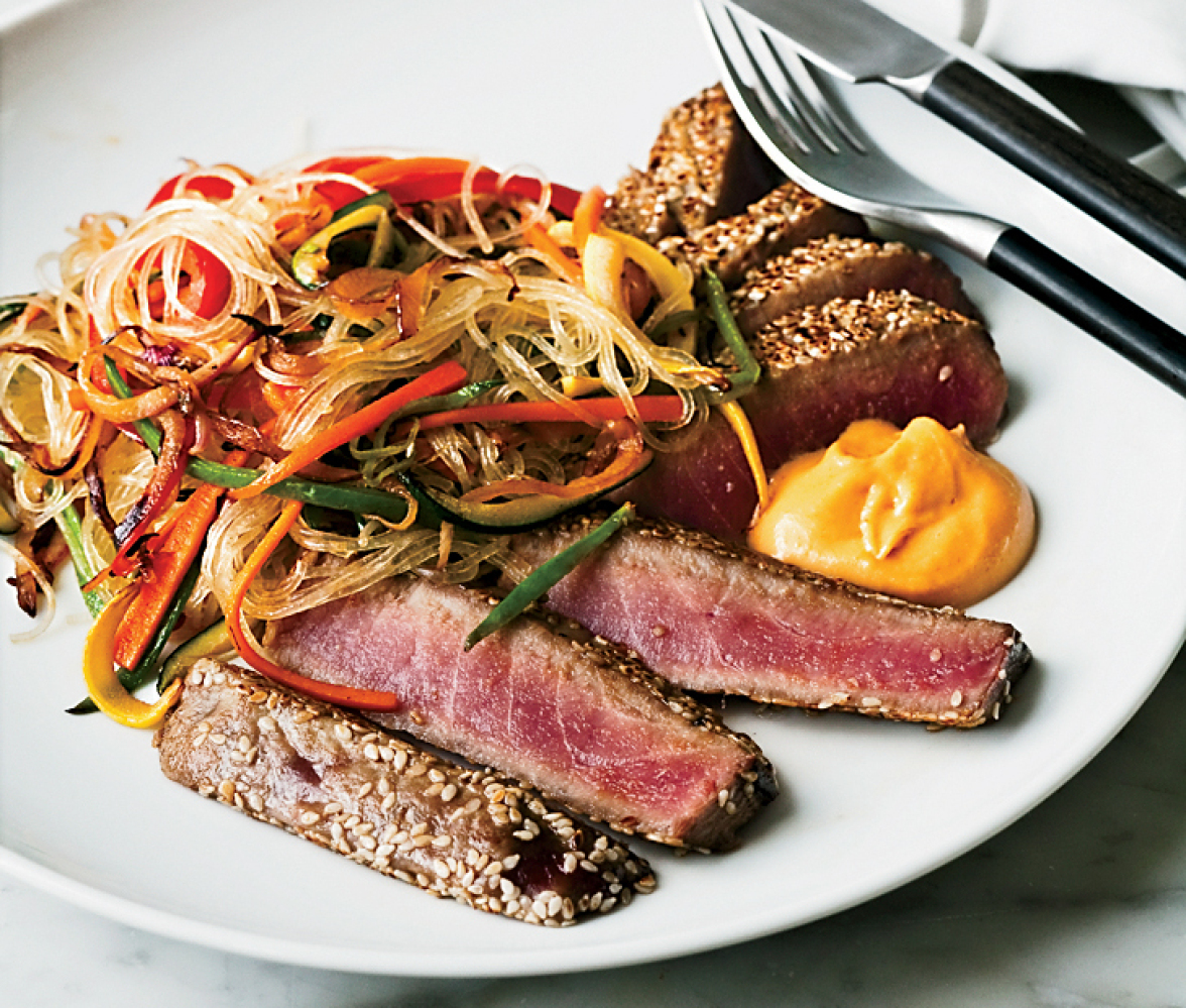 This tuna recipe makes a light and healthy dinner. It takes just minutes to sear the tuna, and when served with a side of ses