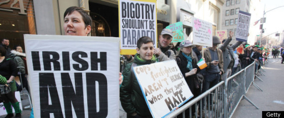 A group of demonstrators is telling New York City St. Patrick's Day Parade organizers that homophobia is not OK.