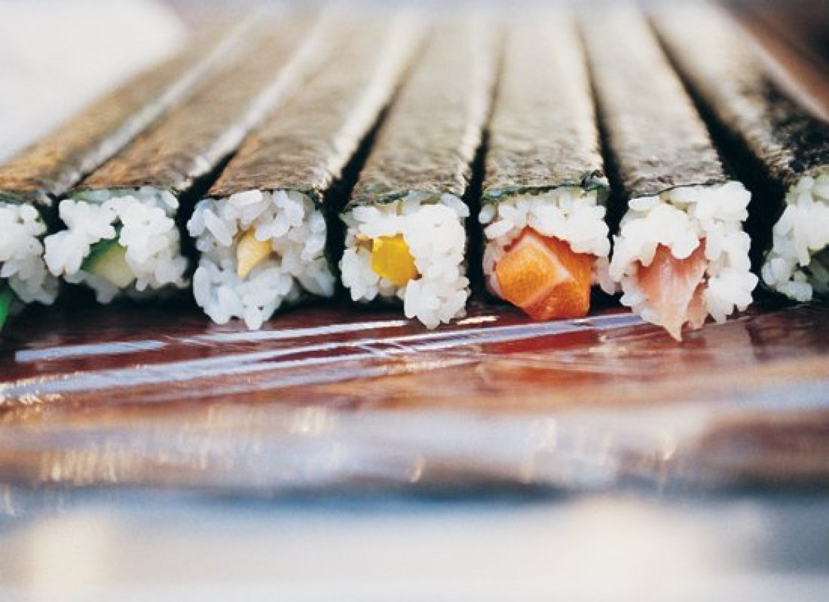 <em>Makizushi</em> is sushi rolled up using a bamboo mat. It is typically wrapped in <em>nori</em> (dried seaweed), but somet