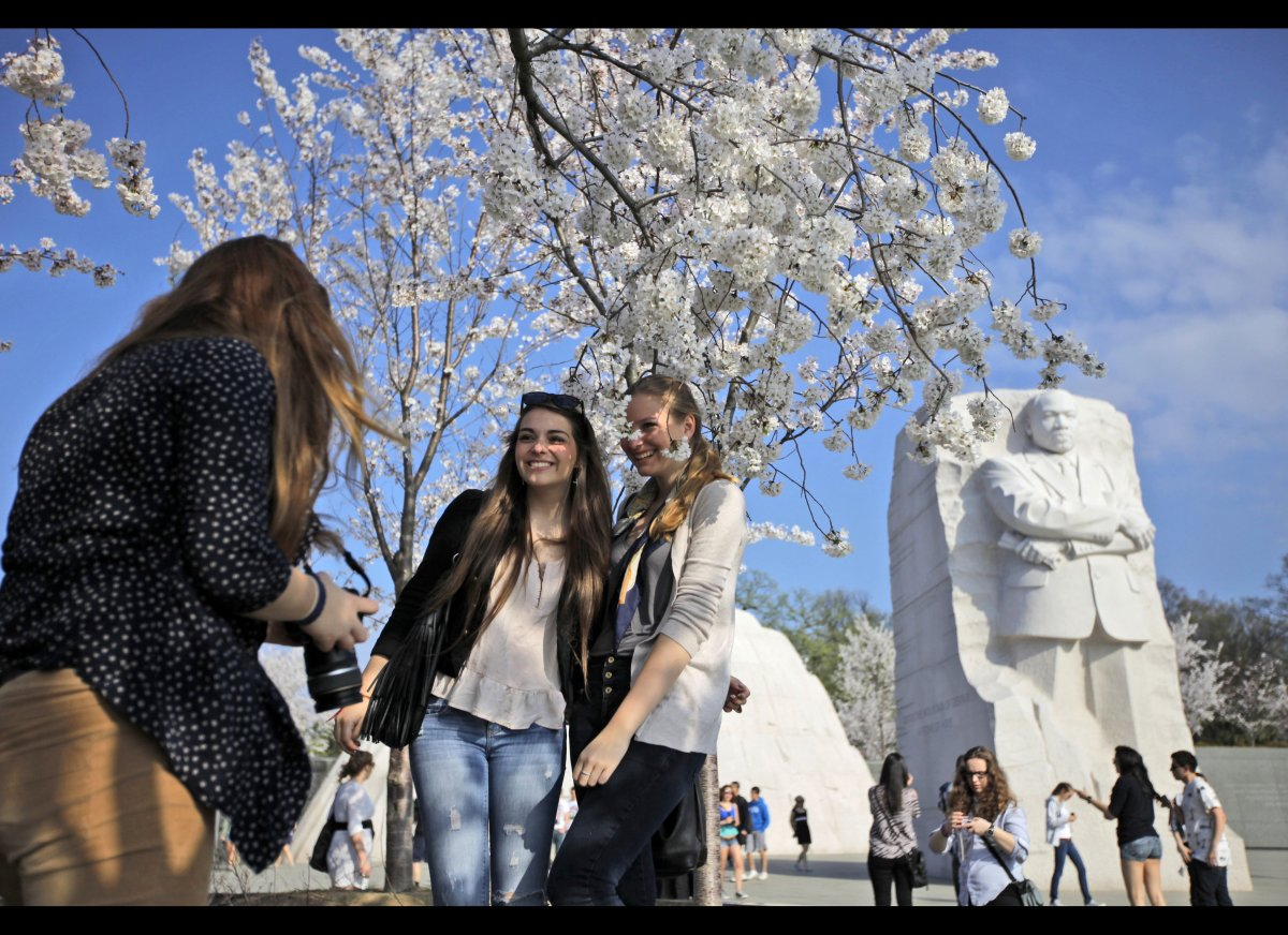 German exchange students Alena Stasen, right, Clara Herrmann, center, and Rose Modersohn, take souvenir pictures under cherry