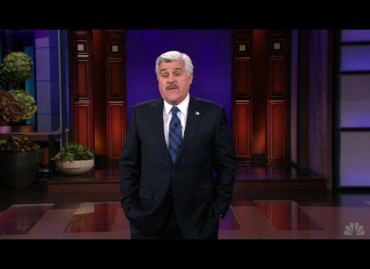 The funniest thing about Jay Leno's monologue Monday night was the fake moustache that Jimmy Fallon made him wear for <a href