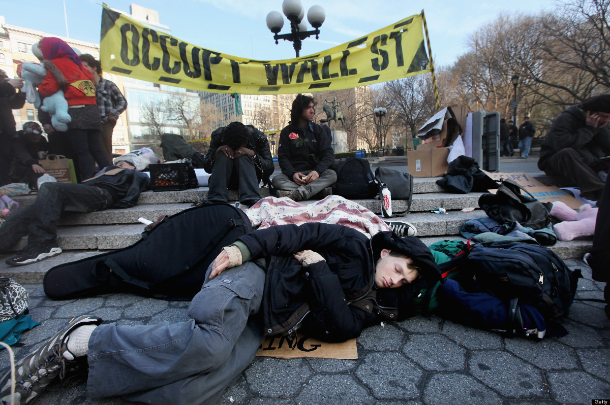 NEW YORK, NY - MARCH 19:  Protesters affiliated with Occupy Wall Street gather in Union Square on March 19, 2012 in New York