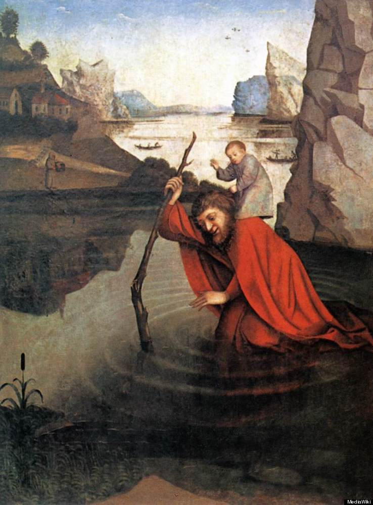 The Patron Saint of Travelers, Saint Christopher, is said to have carried Jesus across a river, hence his name, which means C