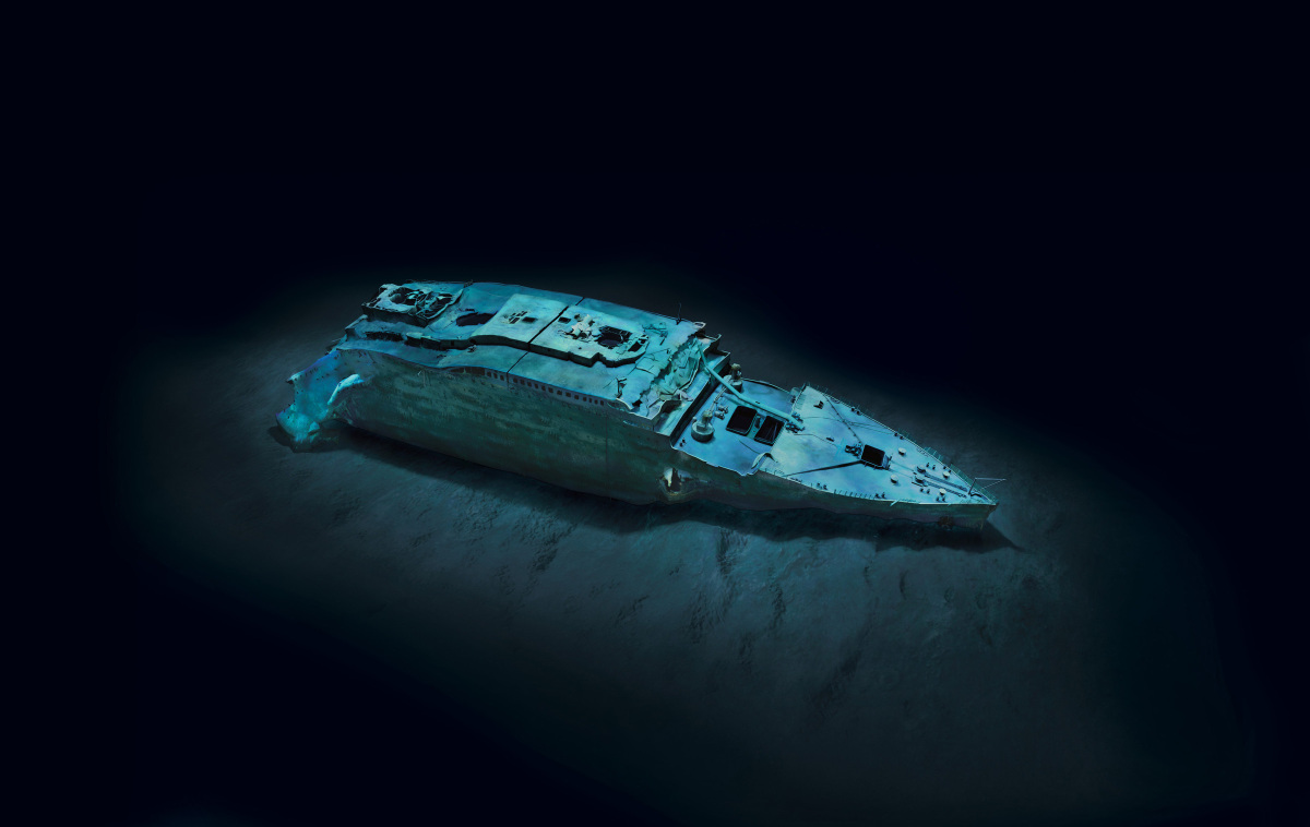 COPYRIGHT© 2012 RMS TITANIC, INC; Produced by AIVL, Woods Hole Oceanographic Institute.  Modeling by Stefan Fichtel.<br>