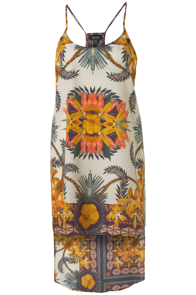 "Borrow the topical vibe from <a href=""http://www.mytheresa.com/us_en/printed-silk-midi-dress.html?quid=61029863468S1086032T&g"