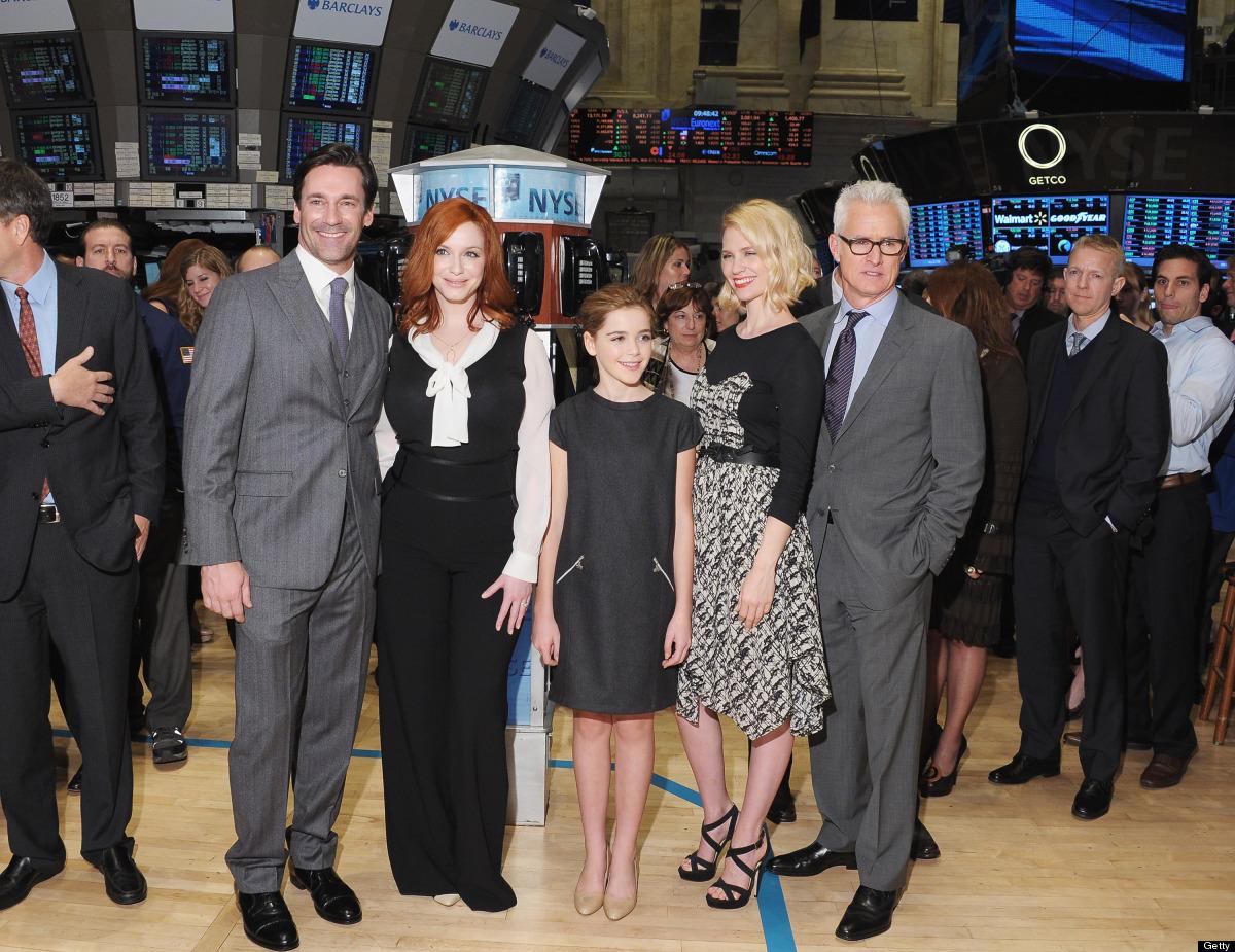 NEW YORK, NY - MARCH 21:  (L-R) Castmembers of 'Madmen' Jon Hamm, Christina Hendricks, Kiernan Shipka, January Jones and John