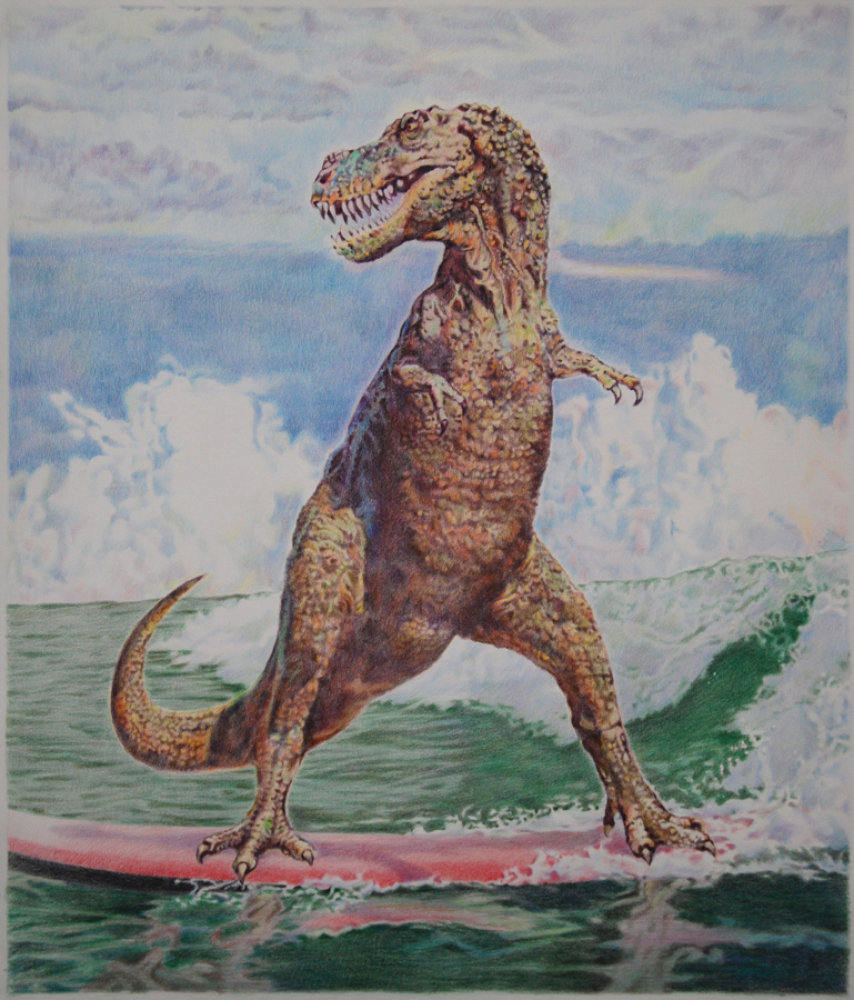 """Eric Yahnker, Endless Summer, 2011, colored pencil on paper, 61"""" x 53"""", courtesy of the artist and AMBACH & RICE"""