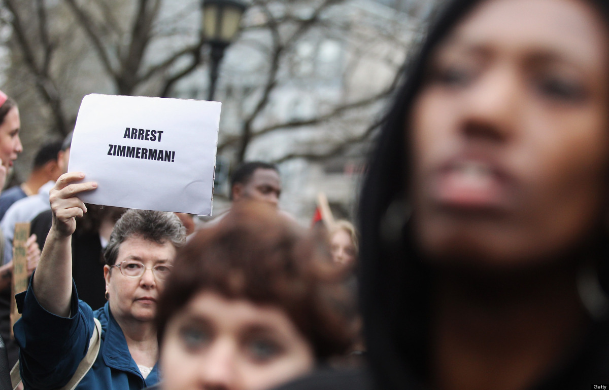 NEW YORK, NY - MARCH 21:  Supporters of Trayvon Martin rally in Union Square during a 'Million Hoodie March' in Manhattan on