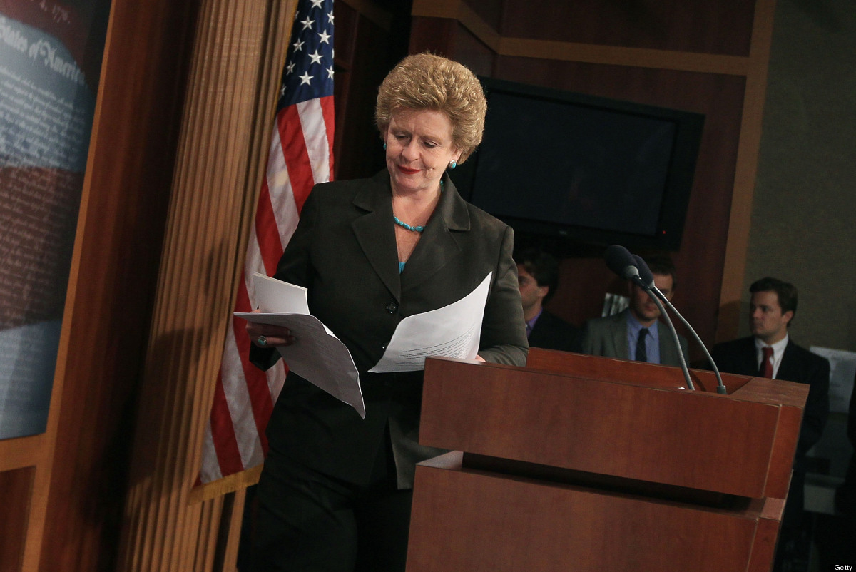 Sen. Debbie Stabenow (D-MI), looks at her papers before addressing the media on wasteful tax breaks in July 6, 2011 in Washin