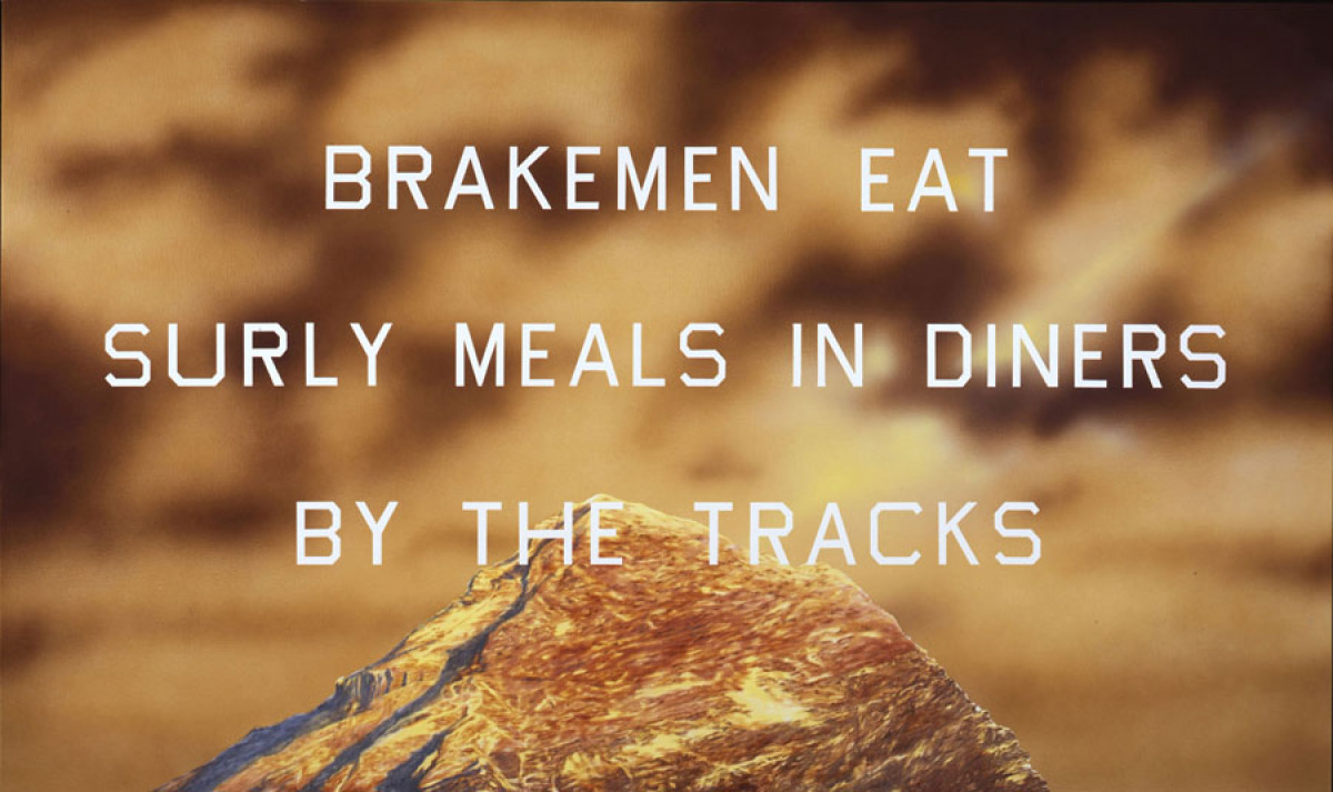 Ed Ruscha, Brakemen Eat, 2010. Acrylic on canvas; 38 x 64 in. Private collection. Image courtesy of the artist and Gagosian G