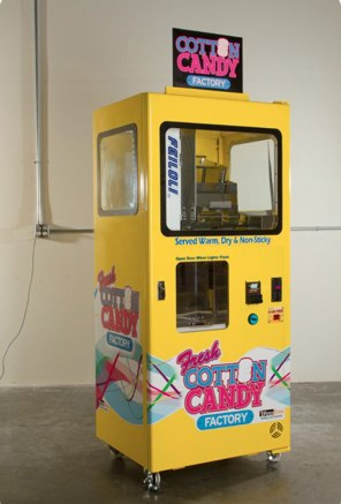 This machine, from Vendever, spins fresh, warm cotton candy on command. The machine, which uses no water in production, uses